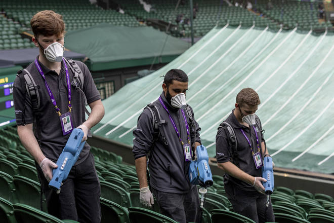 Deep cleaning of the Wimbledon courts is taking place through the tournament