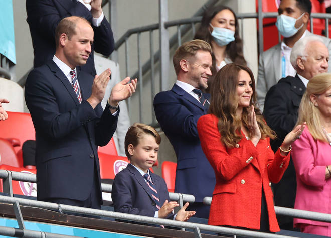 Prince George has joined his mum and dad to watch England play against Germany