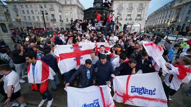 England fans in Piccadilly Circus on Tuesday evening