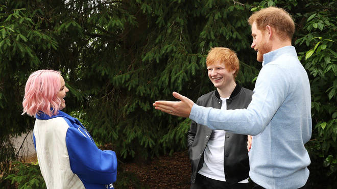 Prince Harry spoke to Ed Sheeran and Anne-Marie while at the event.
