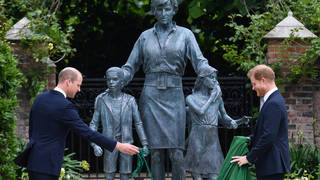 The Duke of Cambridge (left) and Duke of Sussex unveiling a statue they commissioned of their mother Diana, Princess of Wales