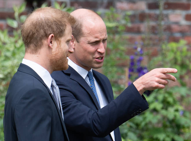 William and Harry during the unveiling of a statue they commissioned of their mother Diana, Princess of Wales, in the Sunken Garden at Kensington Palace, London, on what would have been her 60th birthday.