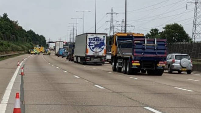 A group of migrants were found in a lorry on the M25 on Thursday