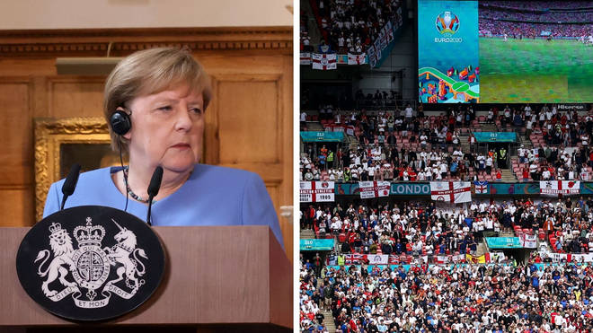 Angela Merkel revealed her concerns over the number of people allowed to attend Wembley for Euro 2020.