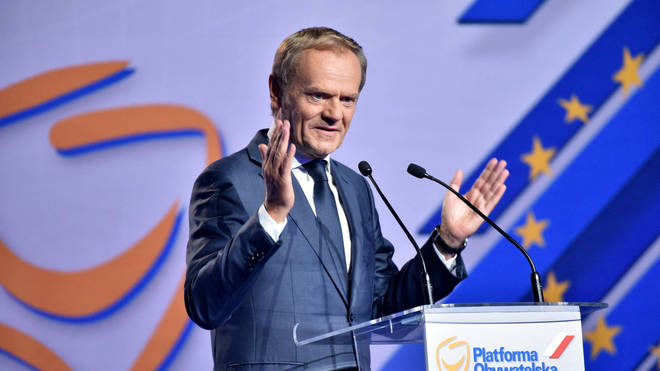 Donald Tusk was elected head of Poland's strongest opposition party on Saturday