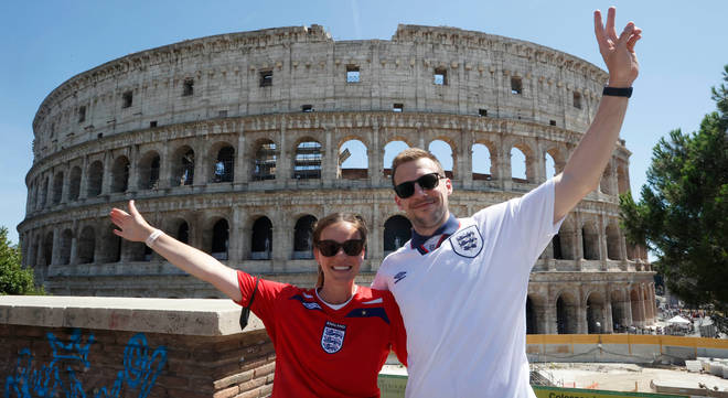 England fans were gathering in Rome ahead of the Euros clash with Ukraine