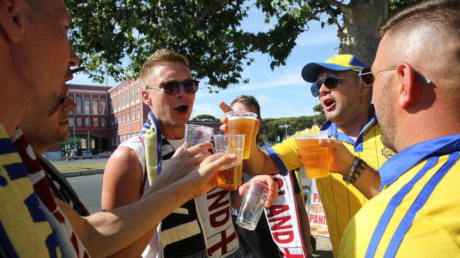 England fans seen drinking with Ukrainian supporters in Rome