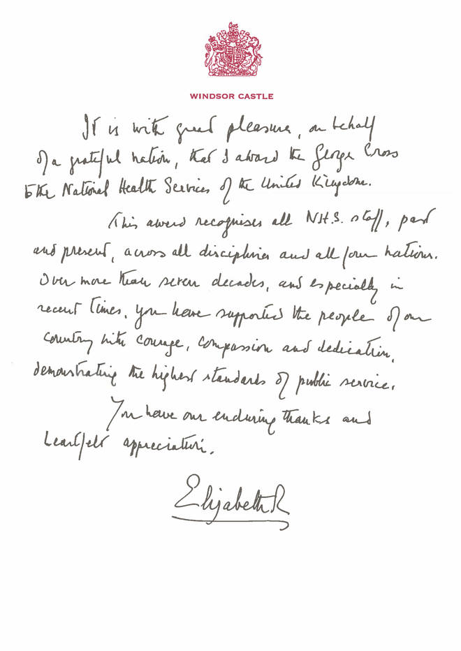 """In her message, on Windsor Castle-headed paper, the Queen wrote: """"It is with great pleasure, on behalf of a grateful nation, that I award the George Cross to the National Health Services of the United Kingdom"""
