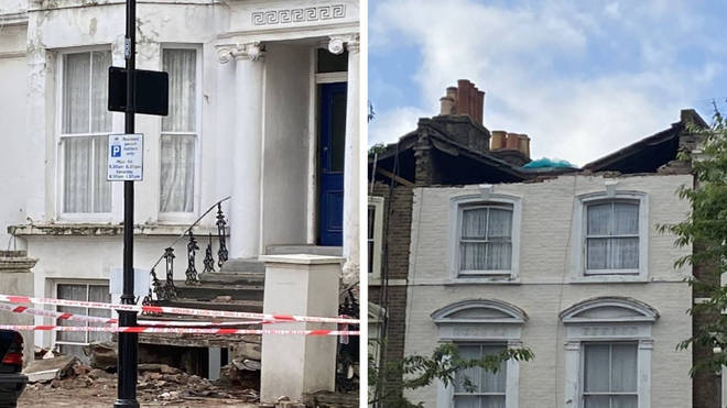 A roof collapsed in Chesterton Road in Notting Hill on Sunday