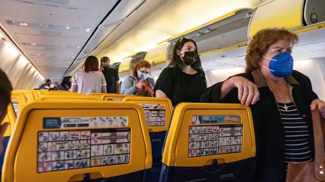 Passengers on a Ryanair flight