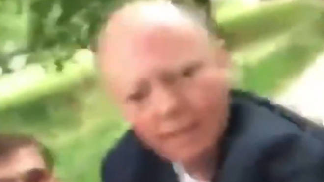 Video footage showed Chris Whitty being accosted in London