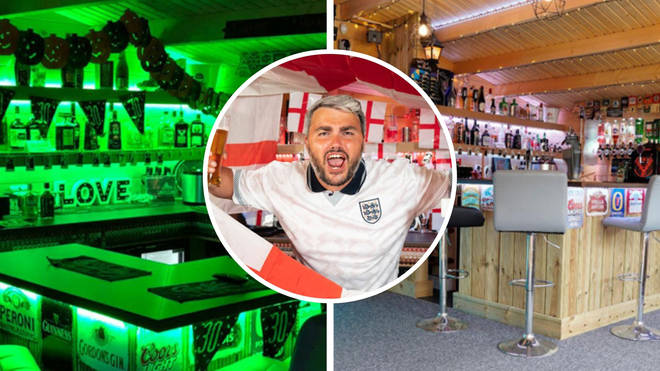 The England fan has built an incredible pub in his garden to watch the football