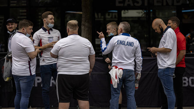 England fans gathering for a beer ahead of the semi-final