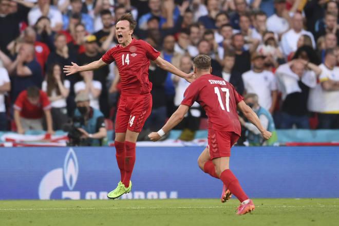 Damsgaard's brilliant free kick gave Denmark the lead