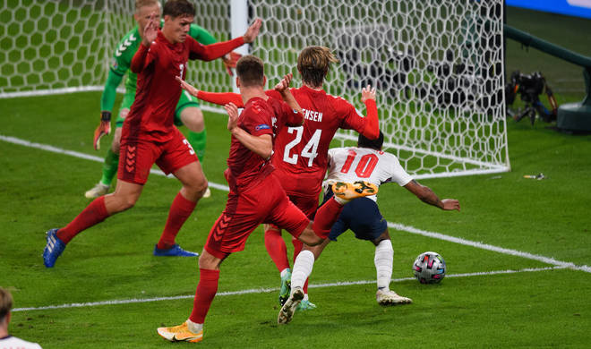 Raheem Sterling was fouled to win the extra time penalty scored by Harry Kane.
