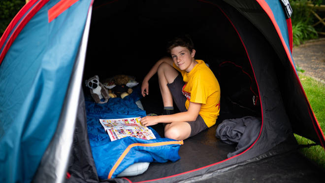 Max has been camping outside for more than a year to raise awareness of vulnerable children