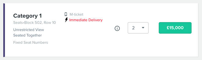 Tickets for the final were available for £15,000 each on resale site Ticombo just hours before kickoff.
