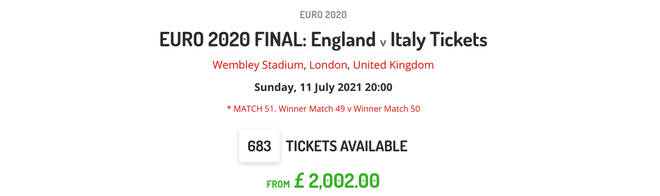 Resale site Live Football Tickets claimed to have up over 600 Wembley tickets for sale on Sunday morning.