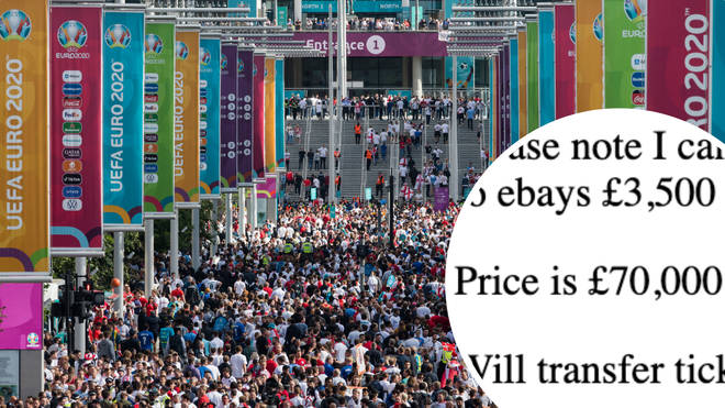 Euro 2020 final tickets to see England v Italy at Wembley are being sold for £70,000 per pair on eBay.