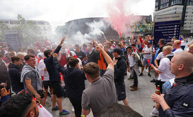 There were chaotic scenes as crowds of England fans gathered outside King's Cross.