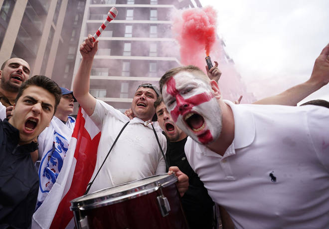 Fans gathered in central London roar England on