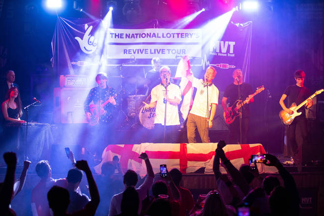 David Baddiel, Frank Skinner and Lighting Seeds perform Three Lions' at a special gig for England fans ahead of the Euro 2020 final, as part of the National Lottery's Revive Live campaign, at 229 club in London.