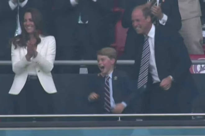 George was seen cheering with his mum and dad as England went 1-0 up