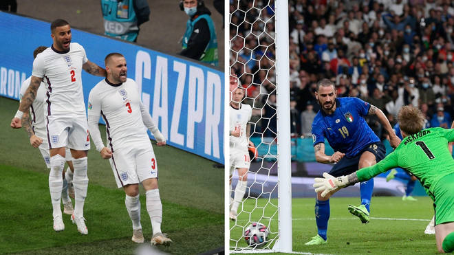 Luke Shaw gave England an early lead but Italy hit back after half time