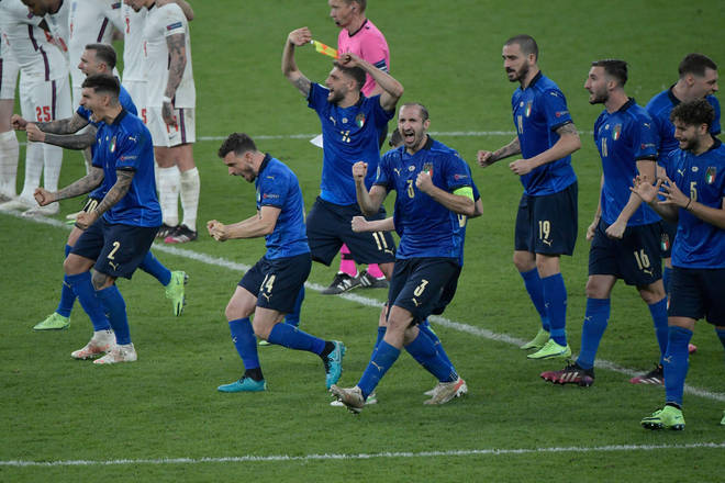 Italy celebrate after sealing the win on penalties