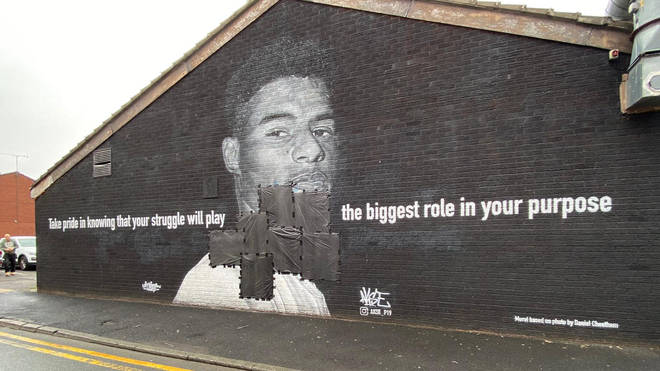 A mural dedicated to Marcus Rashford was vandalised after England's loss to Italy