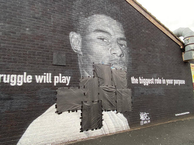 The mural to Rashford has been defaced before