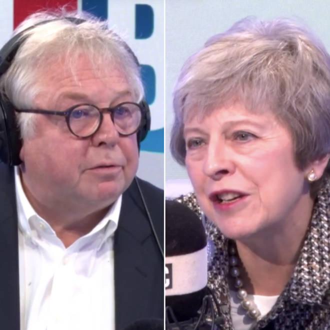 Theresa May speaking to Nick Ferrari in the LBC studio.