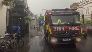 London was hit by flash flooding on Monday afternoon