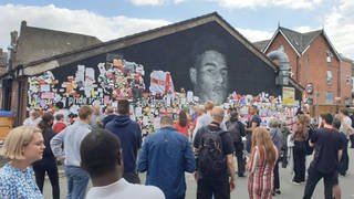 A sea of well-wishers turned up at the mural today