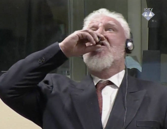 War criminal Slobodan Praljak has died after he was pictured drinking poison during a court appearance