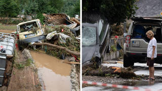 Flooding has hit parts of western Germany and neighbouring Belgium