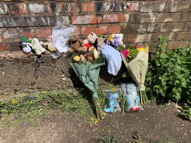 Floral tributes left near Rough Wood country park in Walsall
