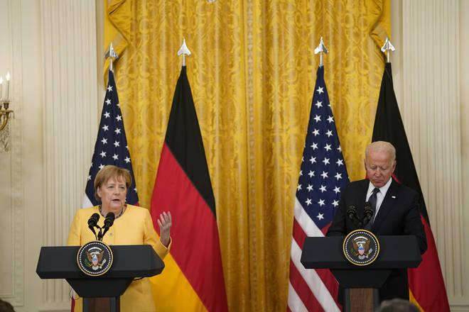 "Angela Merkel described the flooding as a ""catastrophe"" during a trip to Washington."