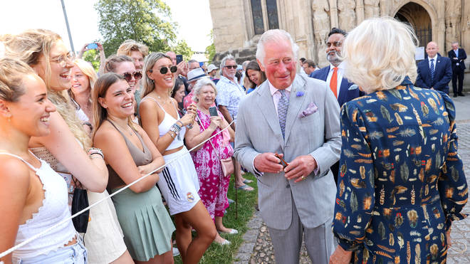 Charles and Camilla greeted visitors outside the cathedral.