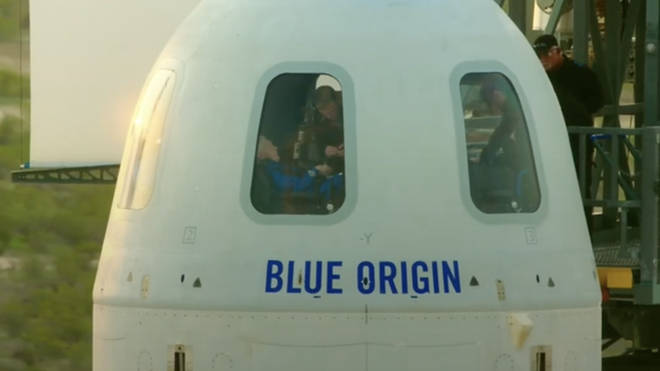 The crew could be seen inside the capsule before they took off.