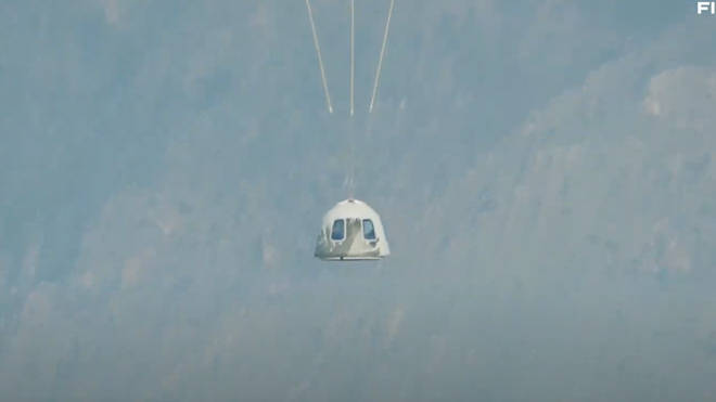 The capsule floated down during its descent.