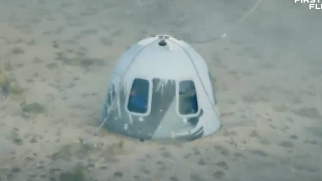 The capsule touched down 11 minutes after it launched.