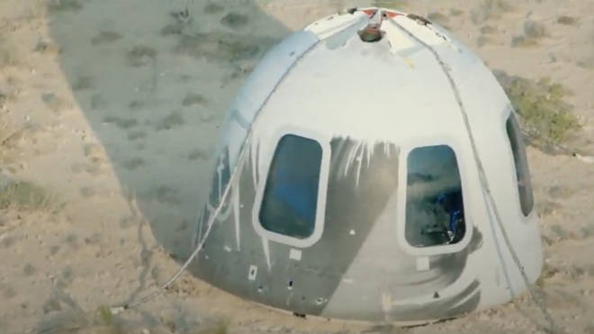 The capsule successfully landed with Jeff Bezos and the rest of the crew.