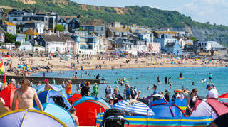 Crowds of beach-goers at Lyme Regis in Dorset over the weekend