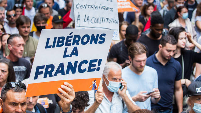 Demonstrators previously came out in full force across France to protest against the passes.