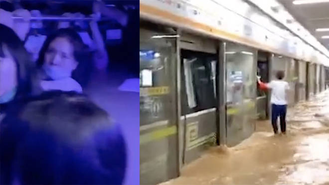 Terrifying footage has emerged of people up to their necks in water in a subway in China