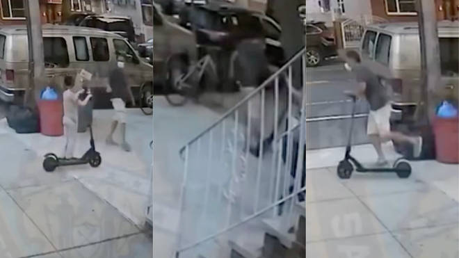 The shocking incident was captured on CCTV