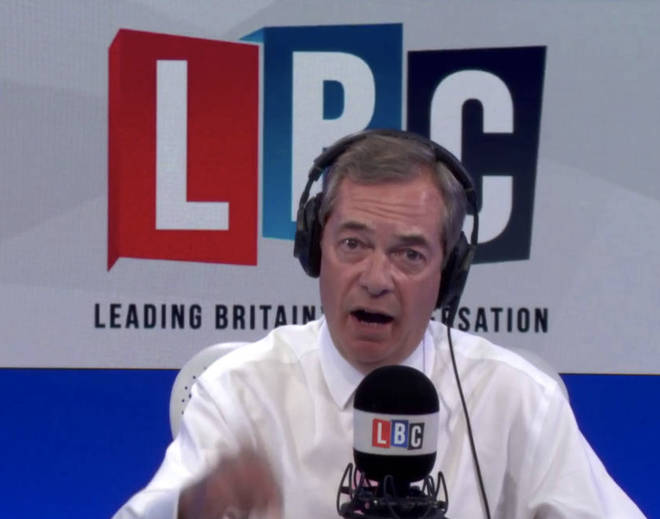 Nigel Farage in the LBC studio.