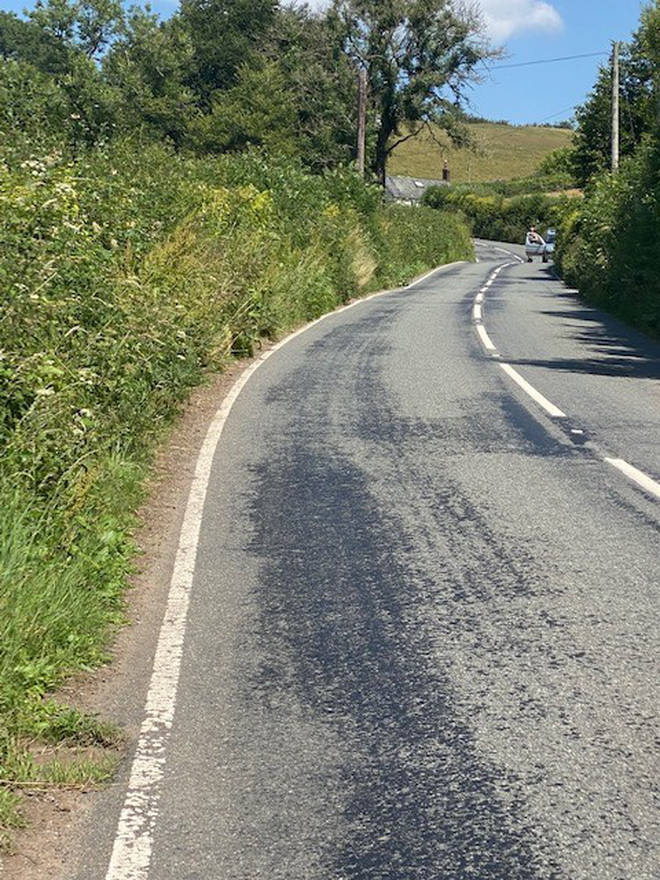 Roads in Somerset have melted under extreme heat