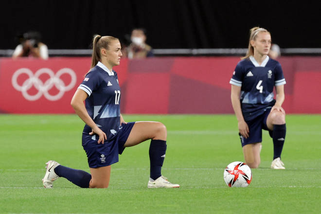 Team GB's women's football team took the knee before their match on Wednesday.